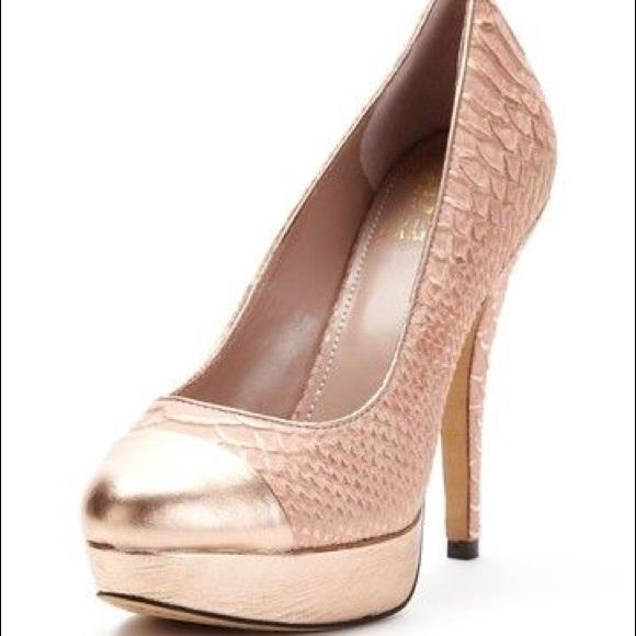 4f43dad0834 Vince Camuto Rose Gold Blush Pink Platform Heels 8